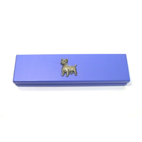 West Highland Terrier on Violet Blue Wooden Pen Box with 2 Pens