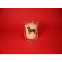 Border Terrier Motif On Glass Votive Candle Holder Xmas Gift