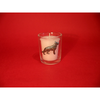 German Shepherd Motif On Glass Votive Candle Holder Xmas Gift