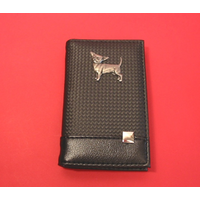 Chihuahua on Faux Carbon Fibre Black Note book & Pen