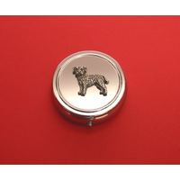 Border Terrier Pewter Motif On Round Chrome Mint / Pill Box