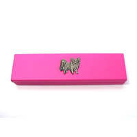 Papillon Dog Motif on Pink Wooden Pen Box with 2 Pens