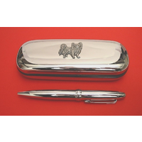 Papillon Dog Chrome Pen Box & Pen Stationery Gift