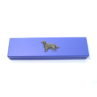 Irish Setter Motif on Violet Blue Wooden Pen Box with 2 Pens