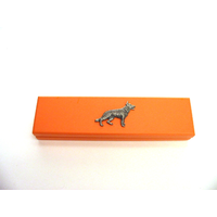 German Shepherd Motif on Apricot Wooden Pen Box with 2 Pens