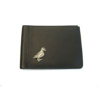 Puffin Design Real Leather Black Passport Holder Gents Gift