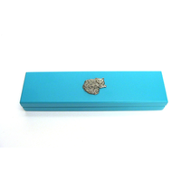 Long Haired Cat Motif on Turquoise Wooden Pen Box with 2 Pens