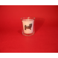 Pug Dog Motif On Glass Votive Candle Holder Xmas Gift