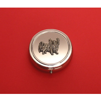 Papillon Pewter Motif On Round Chrome Mint / Pill Box
