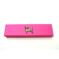 Chihuahua Dog Motif on Pink Wooden Pen Box with 2 Pens