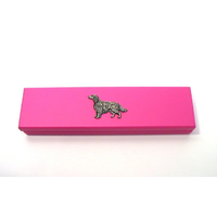 Irish Setter Motif on Pink Wooden Pen Box with 2 Pens