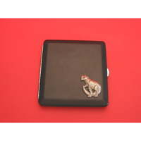 Dinosaur T-Rex Motif on Black Faux Leather Cigarette Case