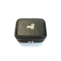 Dachshund Design Small Black Travel Jewellery Box