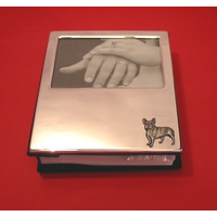 French Bulldog Motif on Plated Photograph Album 100 6 x 4 Photos
