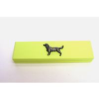 Springer Spaniel Motif on Lime Wooden Pen Box with 2 Pens