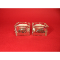 Border Collie Motif On Square Glass Tea Light Holders Xmas Gift