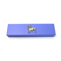 French Bulldog Motif on Violet Blue Wooden Pen Box with 2 Pen
