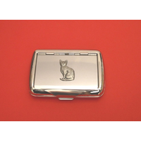 Short Haired Cat Motif on Polished Stainless Steel Tobacco Tin