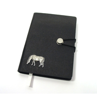 Grazing Pony A6 Black Journal Notebook Horse Gift