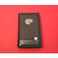 Long Hair Cat on Faux Carbon Fibre Black Note book & Pen