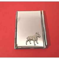 English Bull Terrier Motif Chrome Notebook & Pen Card Holder
