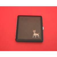 West Highland Terrier Motif on Black Faux Leather Cigarette Case