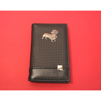 Dachshund on Faux Carbon Fibre Black Note book & Pen