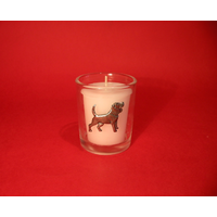 Beagle Motif On Glass Votive Candle Holder Xmas Gift