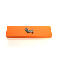 Basset Hound on Apricot Wooden Pen Box with 2 Pens