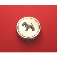 Airedale Terrier Pewter Motif On Round Chrome Mint / Pill Box