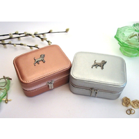 Beagle Design Rose Gold or Silver Travel Jewellery Box Gift