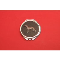Greyhound on Black Round Compact Mirror Ladies Useful Gift