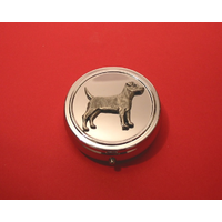 Patterdale Terrier Pewter Motif On Round Chrome Mint / Pill Box