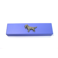 Golden Retreiver Motif on Violet Blue Wooden Pen Box with 2 Pens