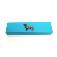 Golden Retriever Motif on Turquoise Wooden Pen Box with 2 Pens