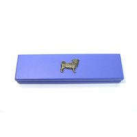 Pug Dog Motif on Violet Blue Wooden Pen Box with 2 Pens
