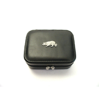 Border Collie Design Small Black Travel Jewellery Box