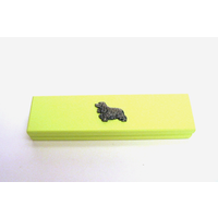 Cocker Spaniel Motif on Lime Wooden Pen Box with 2 Pens