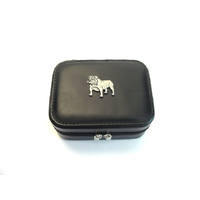 English Bulldog Design Small Black Travel Jewellery Box