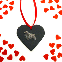 Cocker Spaniel Dog Design Slate Heart Valentine Christmas Gift