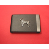 Australian Shepherd Dog Pewter Motif on Black Card Holder Dog