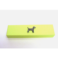 Patterdale Terrier Motif on Lime Wooden Pen Box with 2 Pens