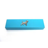 Beagle Motif on Turquoise Wooden Pen Box with 2 Pens