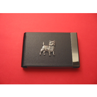 Cairn Terrier Pewter Motif on Black Card Holder Dog Gift