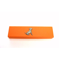 Jack Russell Terrier on Apricot Wooden Pen Box with 2 Pens