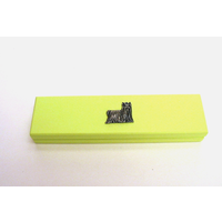 Yorkshire Terrier Motif on Lime Wooden Pen Box with 2 Pens