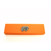 Long Haired Cat Motif on Apricot Wooden Pen Box with 2 Pens