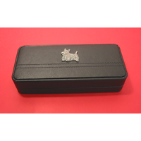 Scottish Terrier Motif on Black Faux Leather Pen Box With 2 Pens