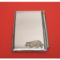 Border Collie Chrome Notebook & Pen Card holder