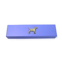 Patterdale Terrier on Violet Blue Wooden Pen Box with 2 Pens